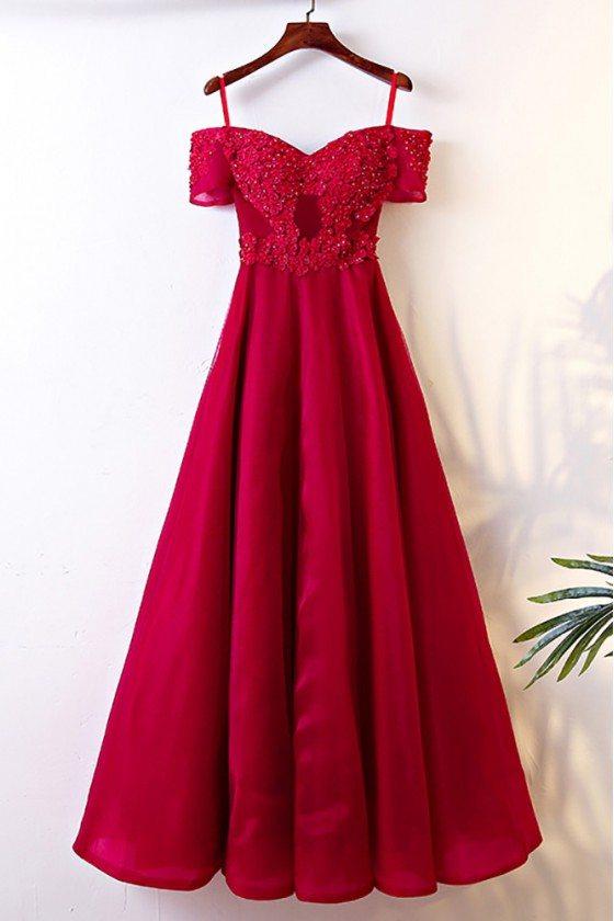 Burgundy Long Off Shoulder Formal Party Dress With Straps