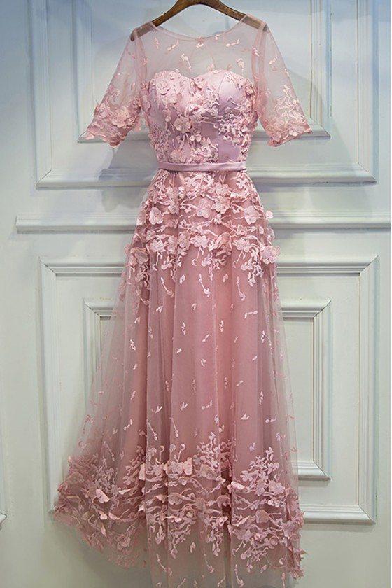 Unique Pink Applique Lace Party Dress With Illusion Neckline