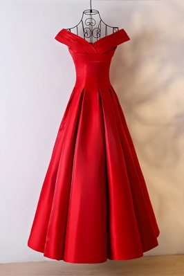 Simple Red Satin Ballgown...