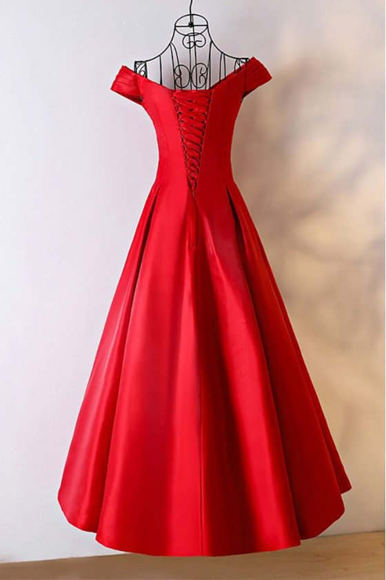 Simple Red Satin Ballgown Formal Dress With Off Shoulder 118