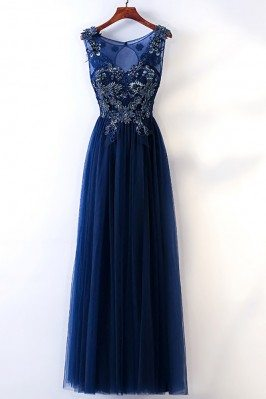 Long Navy Blue Tulle Prom...