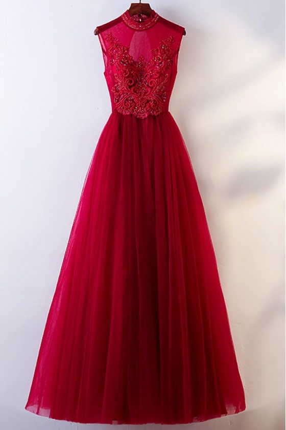 Vintage Chic High Neck Burgundy Prom Dress With Tulle Sleeveless