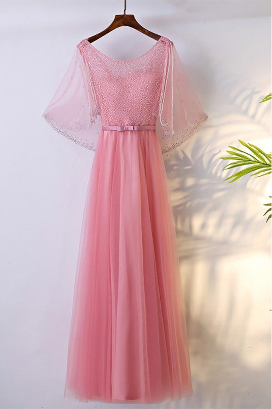 Special Beaded Pink Bling Long Formal Dress With Cape Sleeves