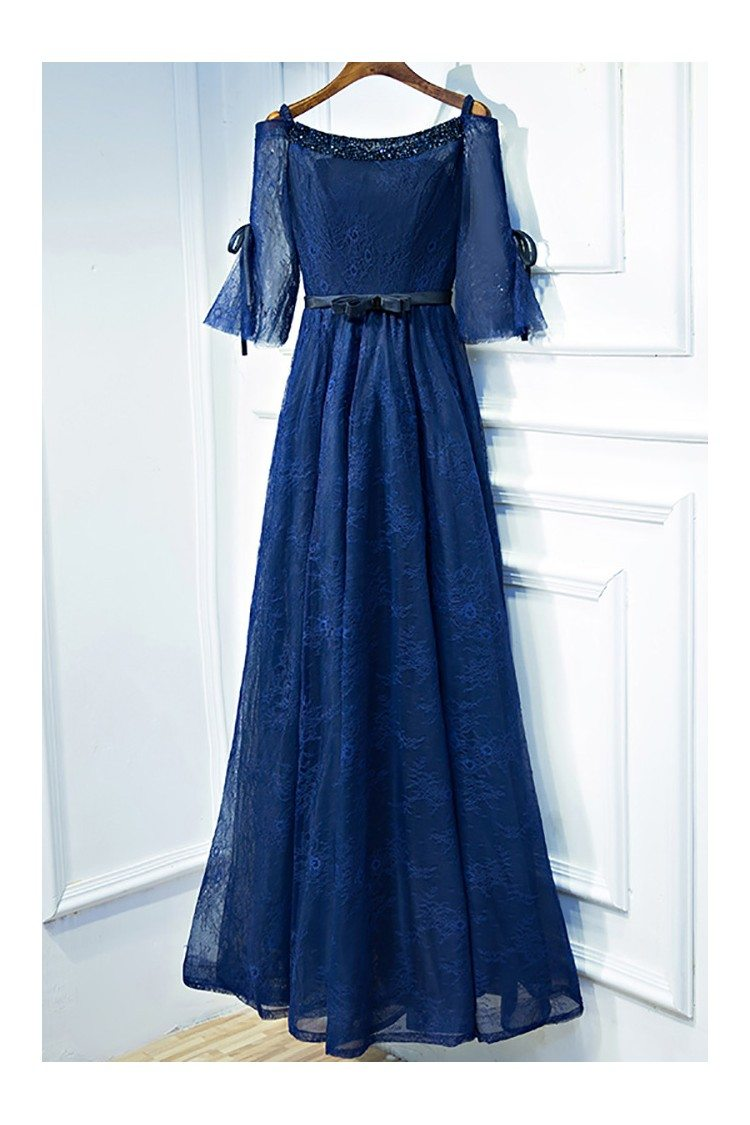 Beautiful Navy Blue Lace Long Formal Prom Dress With ... - photo#12