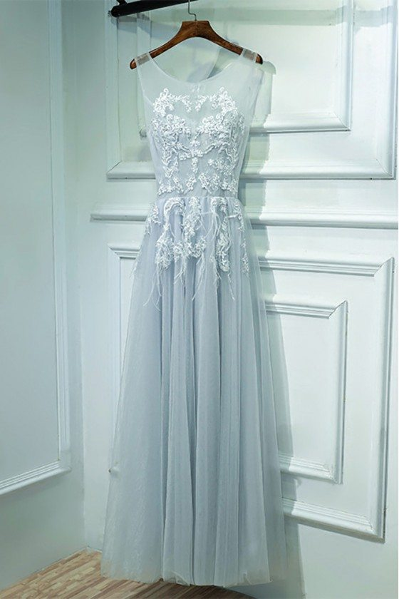 Grey A Line Lace Cheap Prom Dress Long Sleeveless