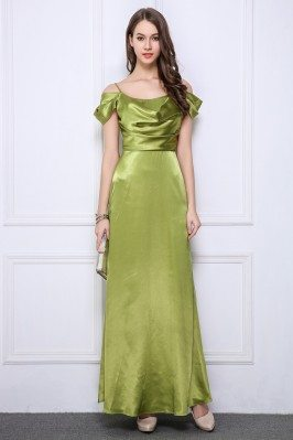 Ruched Satin Formal Long Dress With Straps