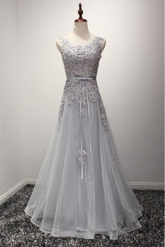 Vintage Dusty Grey Formal Dress Long With Beading Lace Top