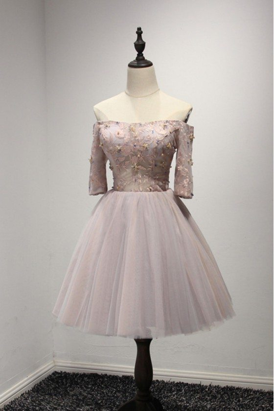 Off The Shoulder Sleeved Homecoming Dress Short Pink With Lace Beading