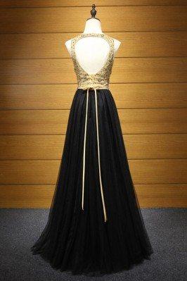 Fun Beaded Applique Yellow Sweetheart Long Prom Dress sha618