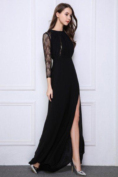 Black Lace Long Sheer Sleeve Slit Prom Dress - $99 #CK520 - SheProm.com