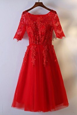 Short Red Lace Bridal...