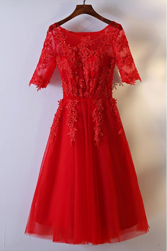 Short Red Lace Bridal Reception Dress With Short Sleeves