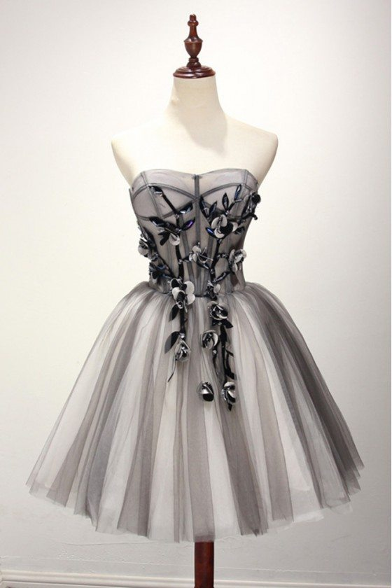 Strapless Short Tulle Grey Homecoming Dress With Black Beading Floral