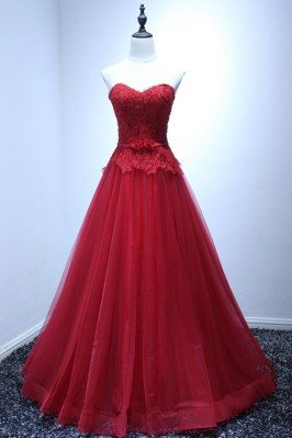 Burgundy Ball Gown Prom...