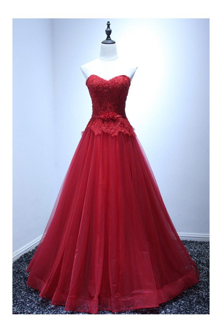 Burgundy Ball Gown Prom Dress Long Tulle With Lace Beading Top ...