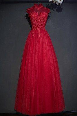 Vintage Lace High Neck Long...