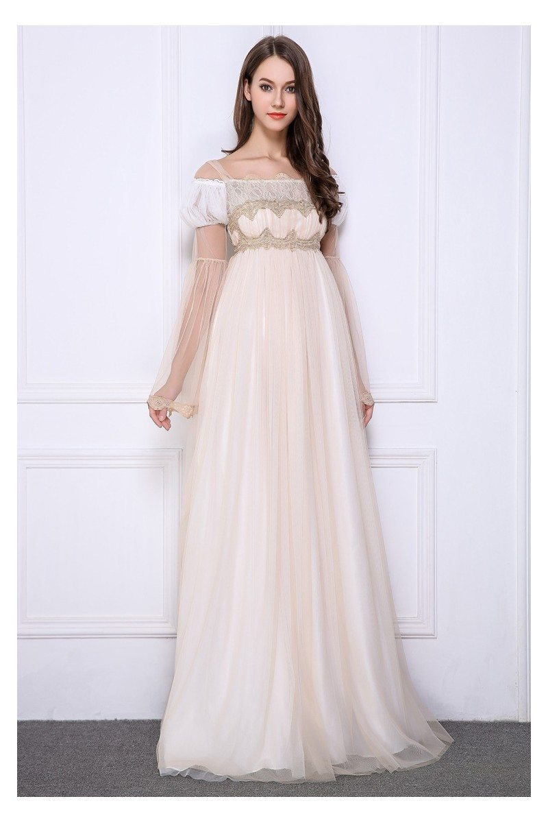 Lolita Nude Empire Lace Long Formal Gown - $117 #CK517 - SheProm.com