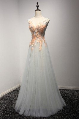 Long Tulle Grey Formal...