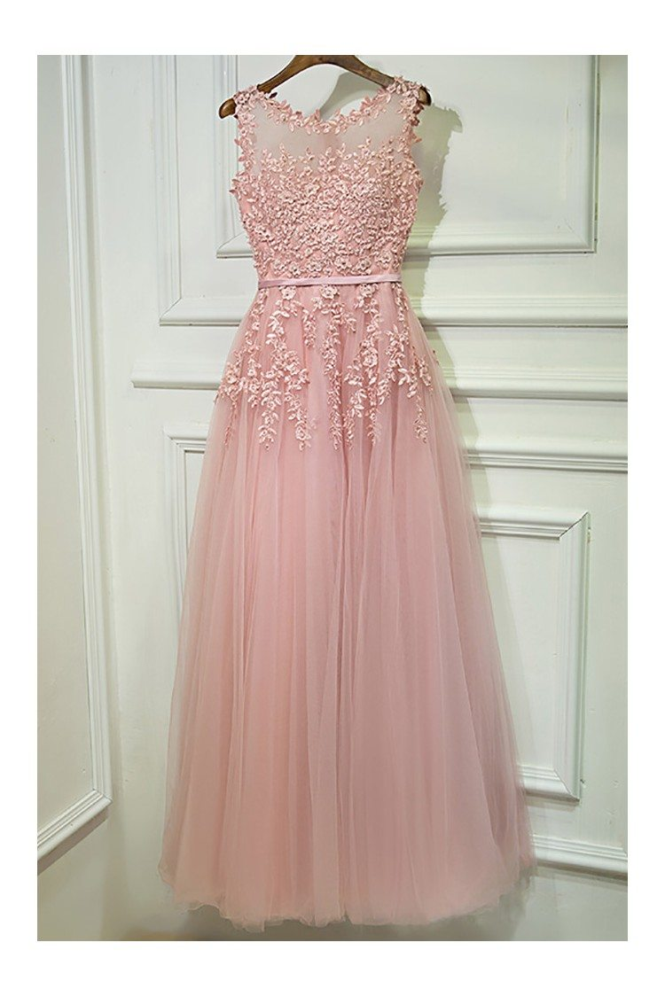 Gorgeous Pink Tulle Prom Dress Long With Lace Sleeveless - $109 ...
