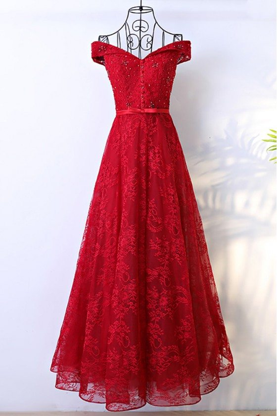 Red Long Lace Formal Party Dress With Off Shoulder
