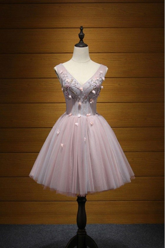 Cute Grey-pink Short Homecoming Dress With Different Beading Floral