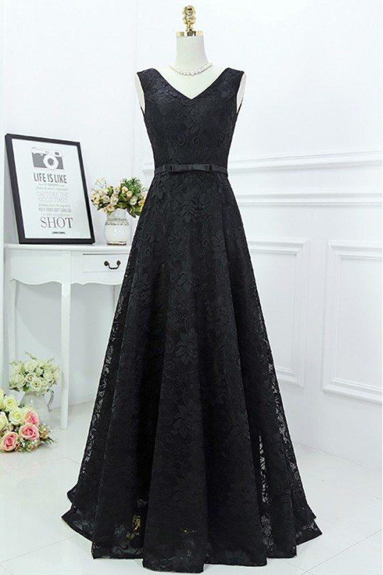 Classy Long Black Lace Formal Evening Dress Sleeveless