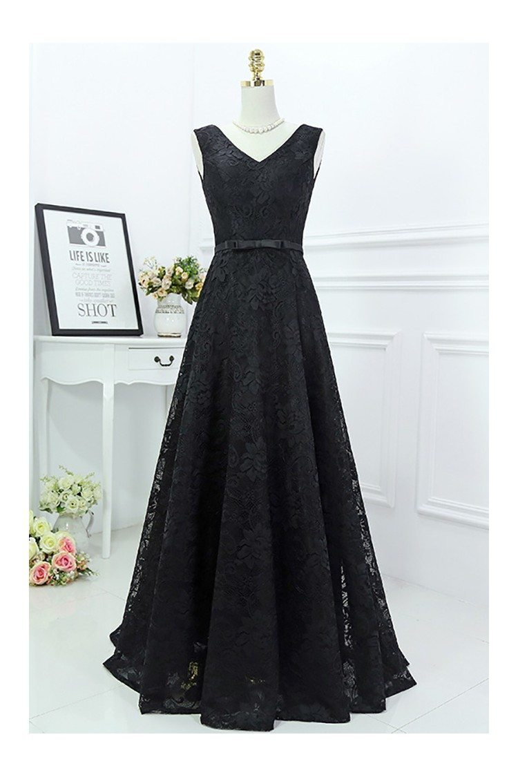 classy long black lace formal evening dress sleeveless