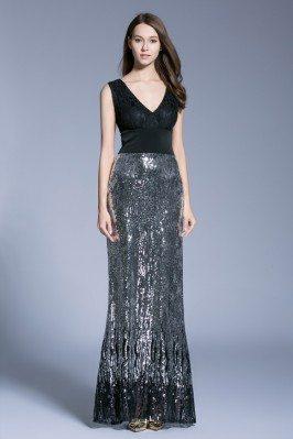 Black Double V-neck Sequin Long Evening Dress