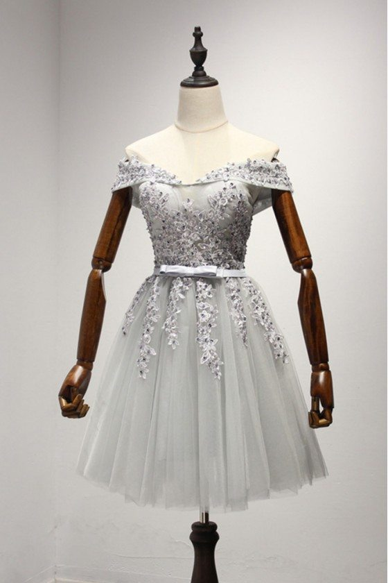 Off The Shoulder Grey Short Homeoming Dress With Lace Beading