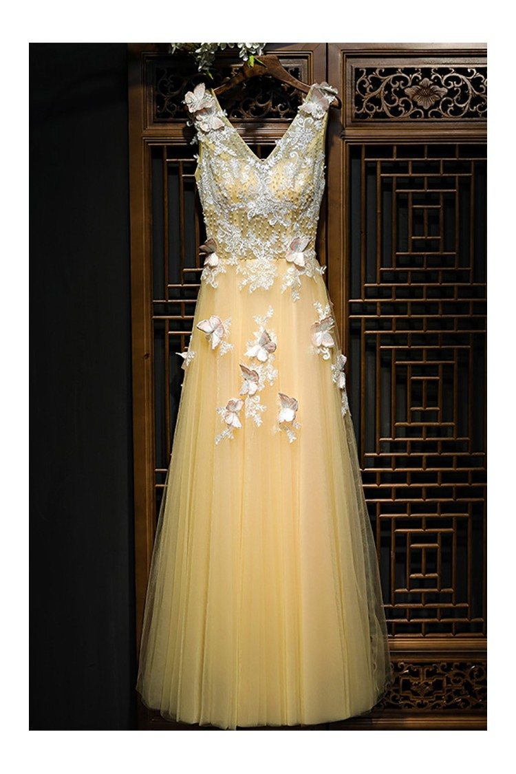 Flowy Long Champagne Tulle Prom Dress With Lace