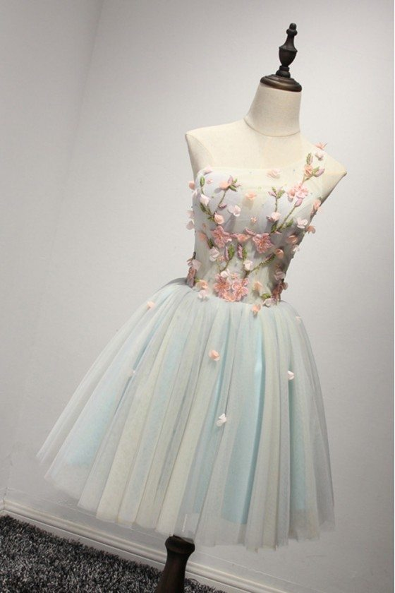 Short Tulle Floral Beaded Homecoming Dress With One Shoulder Strap