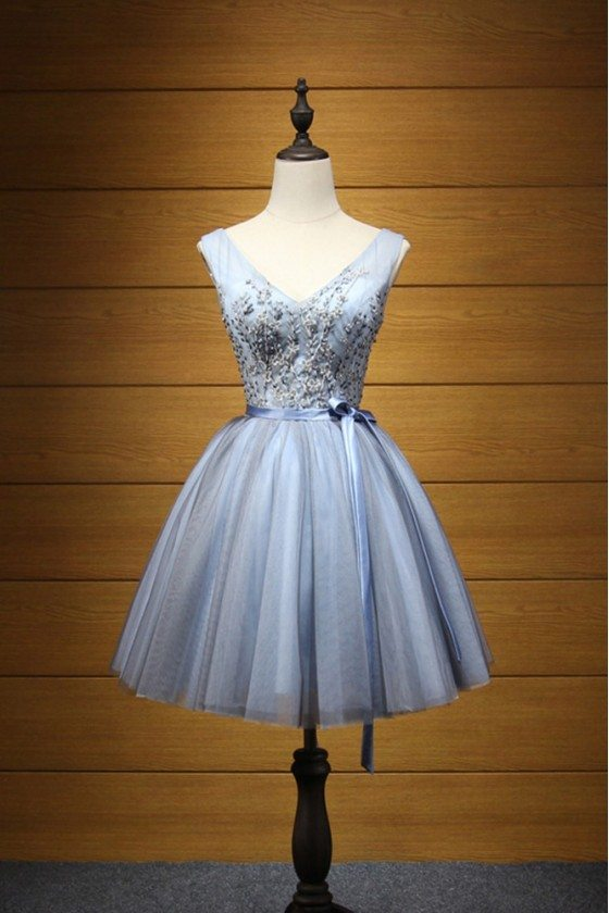 Blue-grey Embroideried Beaded Homecoming Dress Short Country