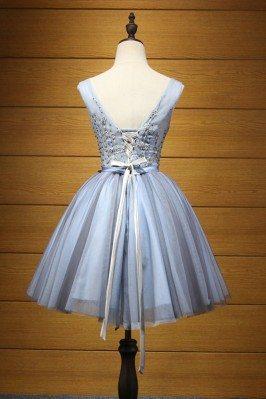 Juniors Beaded Aqua Cute Prom Dresses Short in Front Long in Back sha661