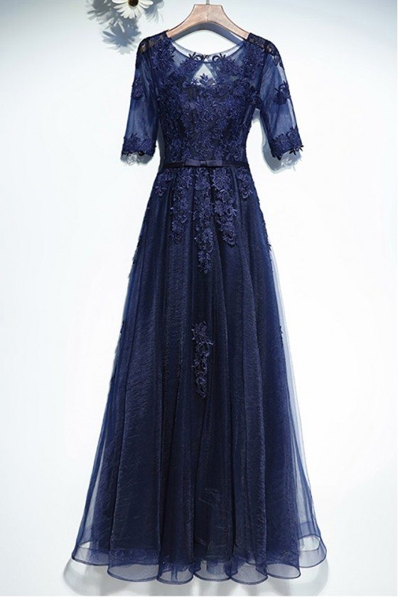 Navy Blue Lace Short Sleeve Long Formal Dress For Less