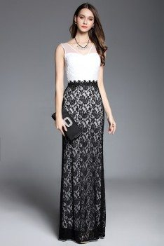 Black And White Lace V-neck Long Party Dress