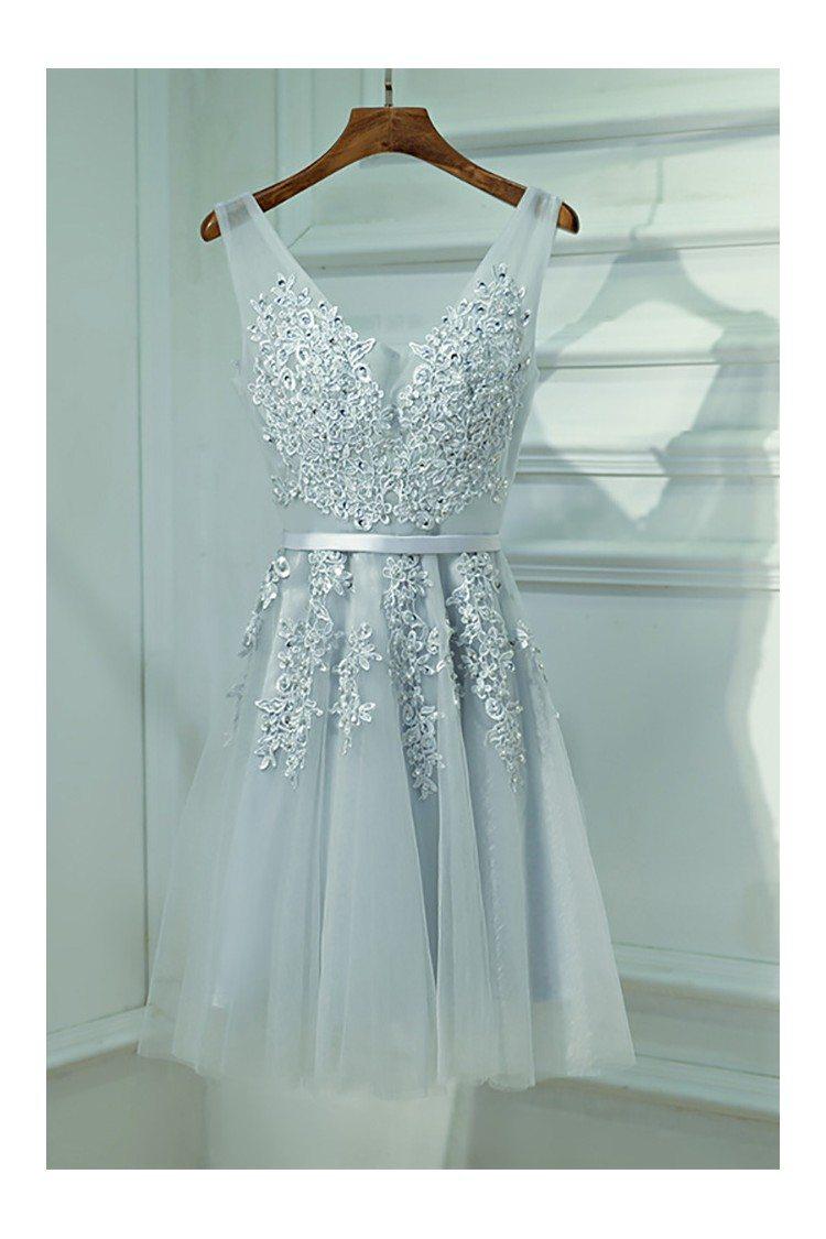Silver V-neck Short Lace Reception Party Dress V-neck - $99 ...