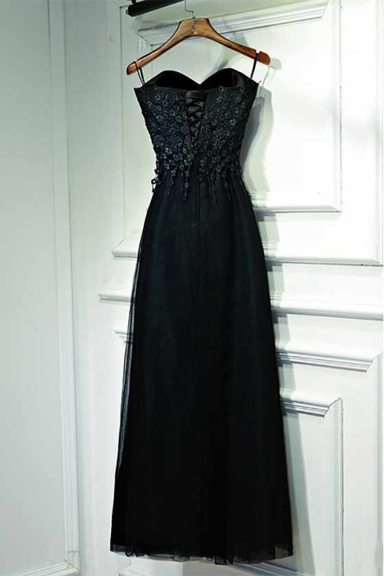 Classy Long Black Lace Formal Dress With Butterfly Sleeves 109
