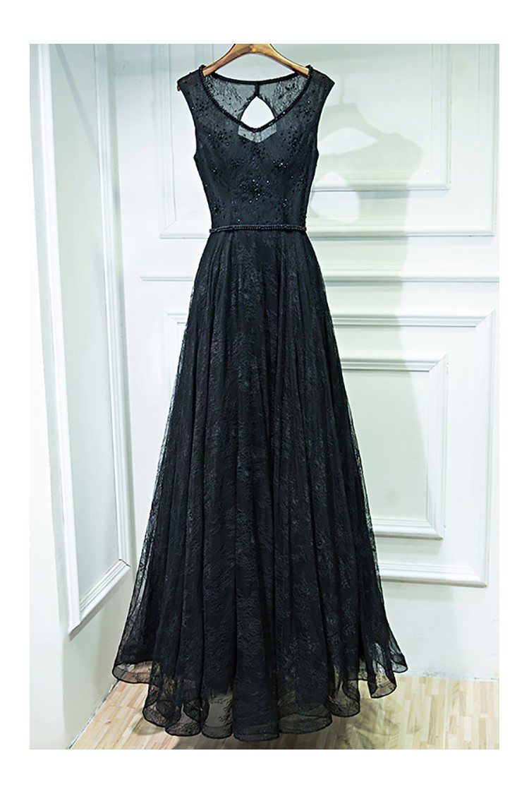 formal long black lace cheap prom dress sleeveless 109