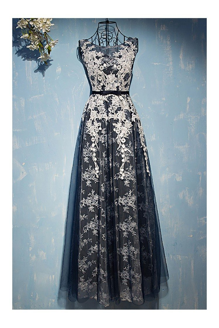Different White With Navy Blue Lace Prom Dress Sleeveless - $109 ...