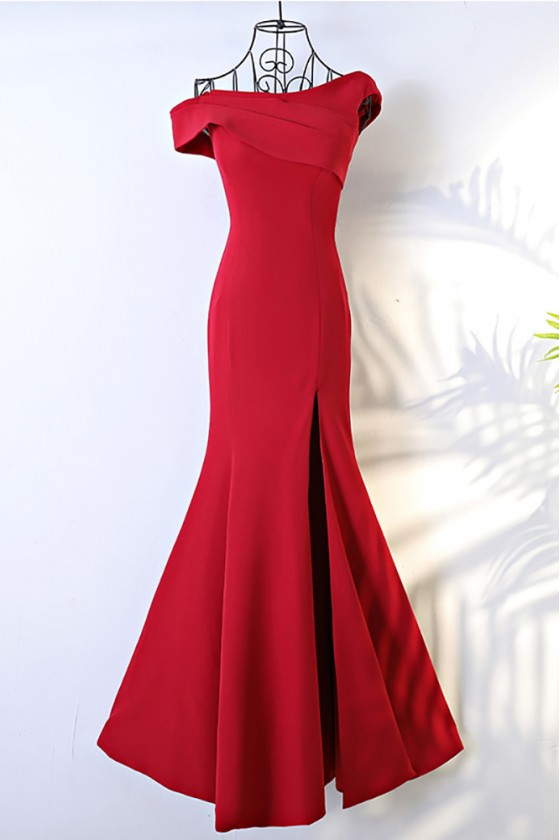 Unique Asymmetrical Sleeve Long Burgundy Formal Dress Mermaid