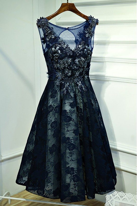 Gorgeous Navy Blue Lace Short Formal Party Dress With Appliques