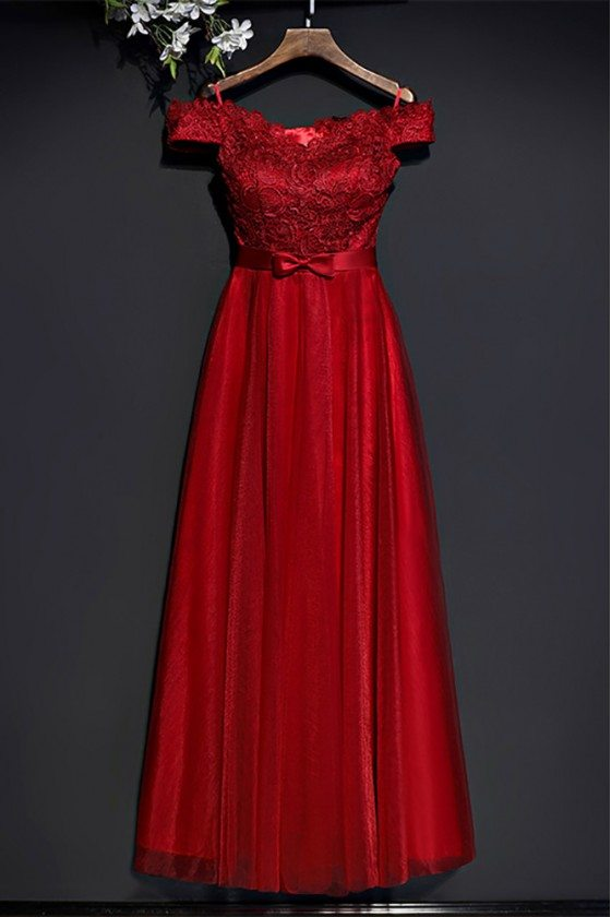 Gorgeous Red Lace High Waist Formal Dress Off Shoulder