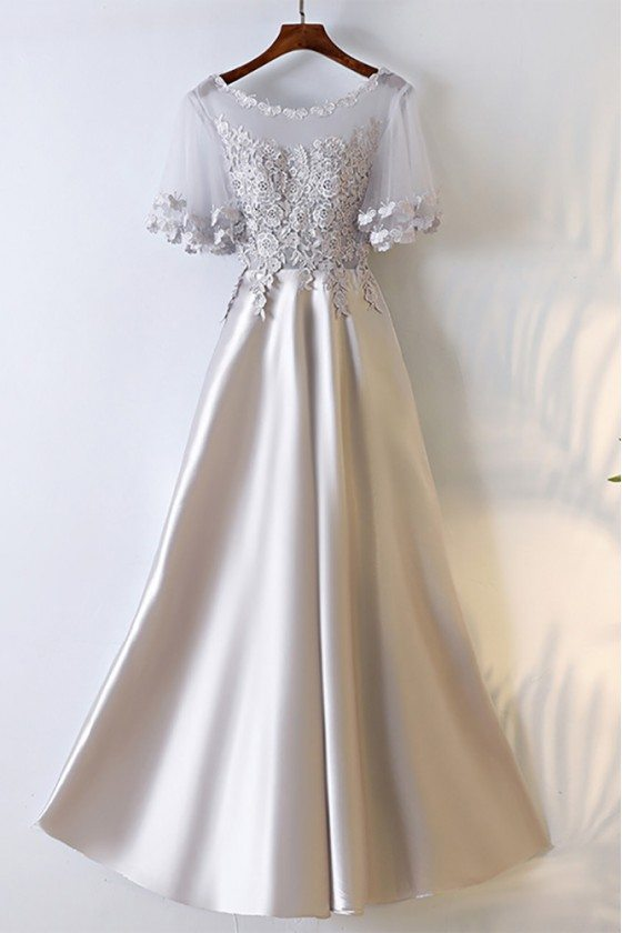 Silver Satin Long Party Prom Dress With Illusion Neckline