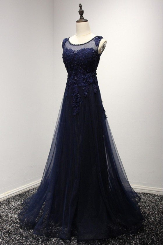 Vintage Dark Navy Blue Prom Dress Long With Lace Beading Top