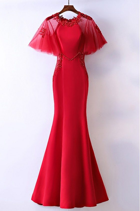 Slim Satin Long Mermaid Formal Dress With Butterfly Sleeves