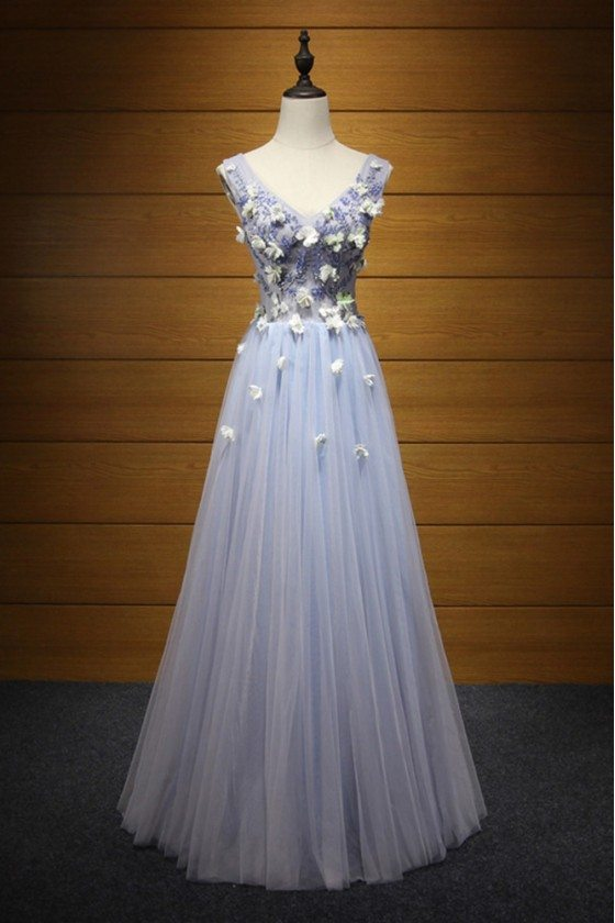 Unique Bluish Grey Prom Dress Long With Beaded Flowers For Girls
