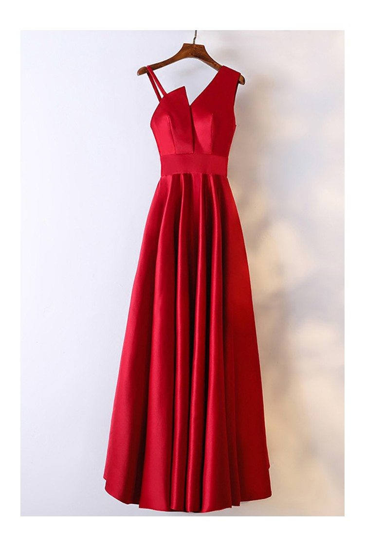 Classy Satin Burgundy Long Formal Dress With Asymmetrical