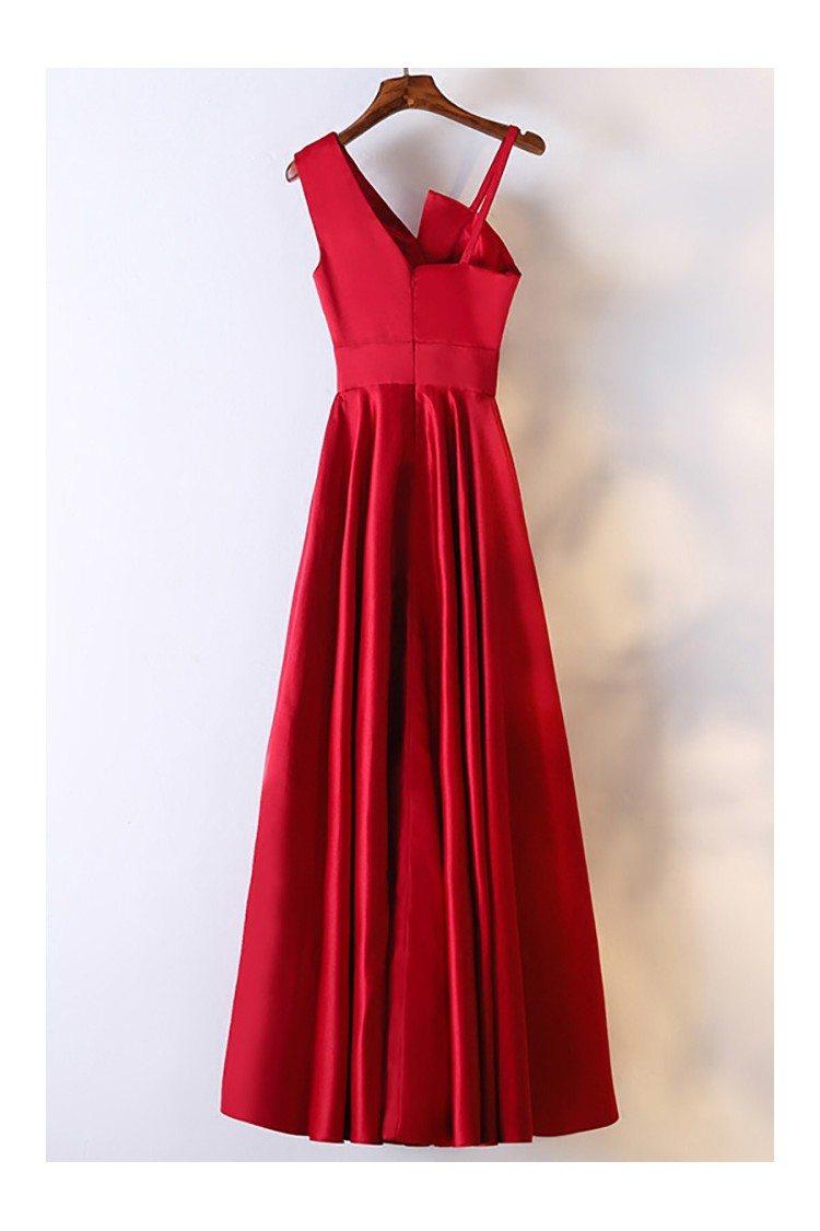 Classy Satin Burgundy Long Formal Dress With Asymmetrical