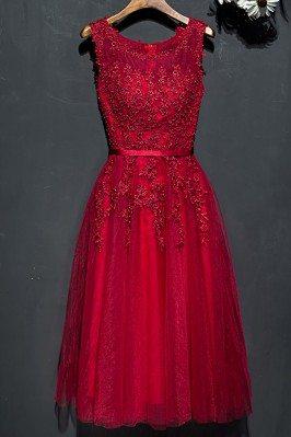 Short Lace Burgundy Lace...