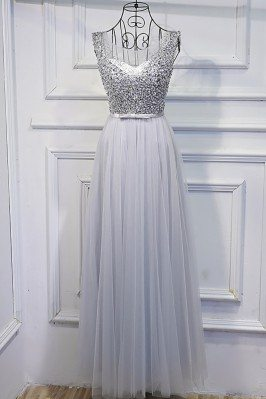 Silver Long Tulle Cheap...